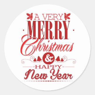 Sticker Rond Décor rouge et blanc d'énonciations de Joyeux Noël