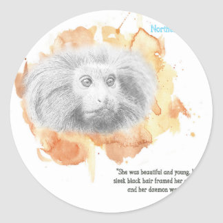 Sticker Rond Démon d'or de singe - ses matériaux foncés