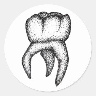 Sticker Rond Dent humaine Dotwork