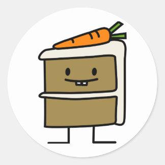 Sticker Rond Dents de lapin de tranche de gâteau à la carotte
