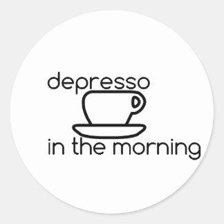 Sticker Rond depresso dans l'autocollant de matin