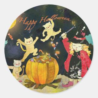 Sticker Rond Des bonbons ou un sort mignon de sorcière de