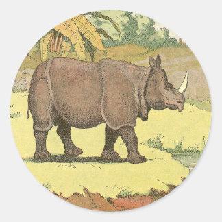 Sticker Rond Dessin de livre d'histoire de rhinocéros