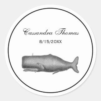 Sticker Rond Dessin du 19ème siècle vintage de baleine