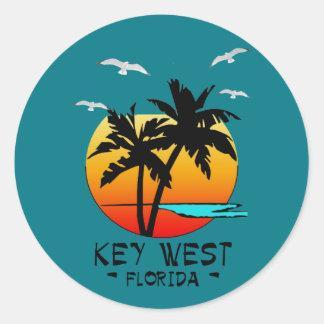 STICKER ROND DESTINATION TROPICALE DE KEY WEST LA FLORIDE