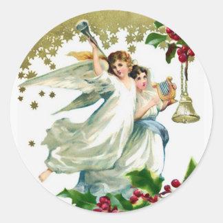 Sticker Rond Deux anges avec Noël de Bells