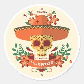 Sticker Rond Dia De Los Muertos. Jour des morts. Crâne de sucre