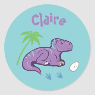 Sticker Rond Dinosaure Iguanodon de bébé