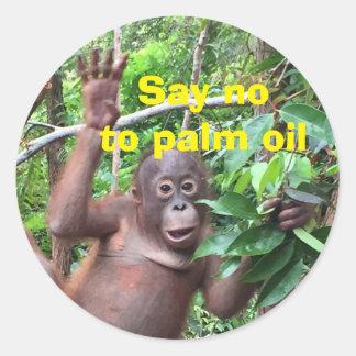 Sticker Rond Dites non au changement climatique d'huile de