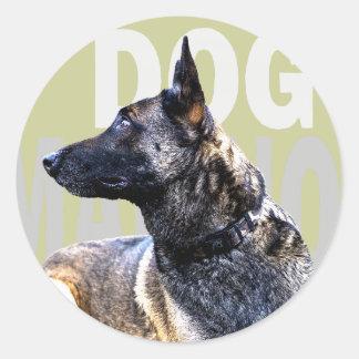 Sticker Rond dog malinois china