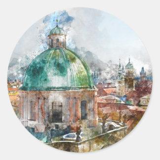 Sticker Rond Dôme de cathédrale dans la République Tchèque de
