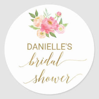 Sticker Rond Douche nuptiale de pêche et de fleurs roses de