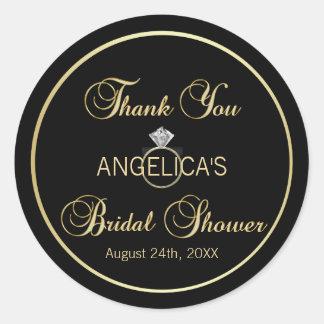 Sticker Rond Douche nuptiale noire unique d'anneau de mariage