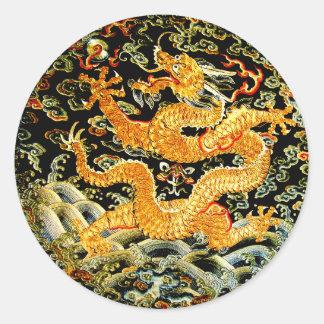 Sticker Rond Dragon d'or brodé par antiquité chinoise de