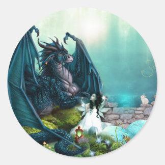 Sticker Rond Dragon et fée d'imaginaire