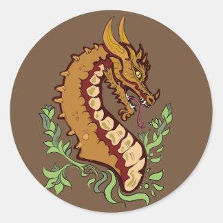 Sticker Rond Dragon stylisé