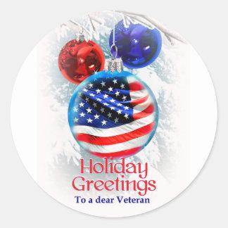 Sticker Rond Drapeau américain de Noël militaire aux vétérans