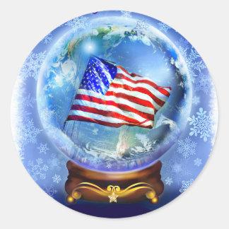 Sticker Rond Drapeau américain et monde pour la paix sur terre
