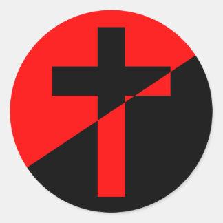 Sticker Rond Drapeau chrétien de christianisme d'anarchie