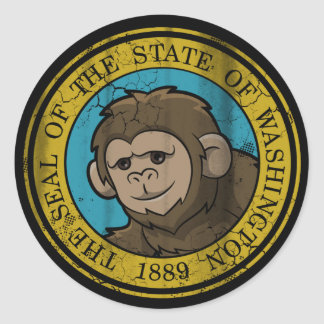 Sticker Rond Drapeau de Bigfoot de Washington