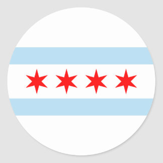 Sticker Rond Drapeau de Chicago