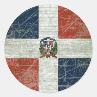 STICKER ROND DRAPEAU DE LA RÉPUBLIQUE DOMINICAIN