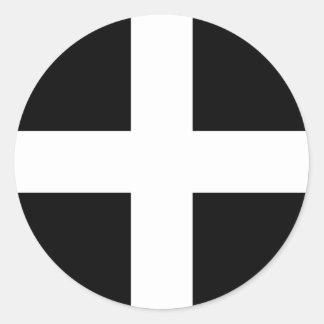 Sticker Rond Drapeau des Cornouailles - le drapeau de Piran de