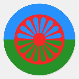 Sticker Rond Drapeau des personnes Romani - drapeau Romani