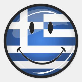 Sticker Rond Drapeau grec de sourire