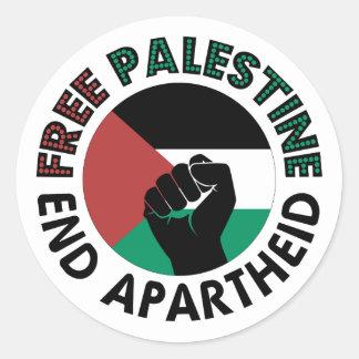 Sticker Rond Drapeau libre de la Palestine d'apartheid de fin
