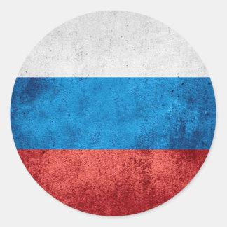 Sticker Rond Drapeau russe