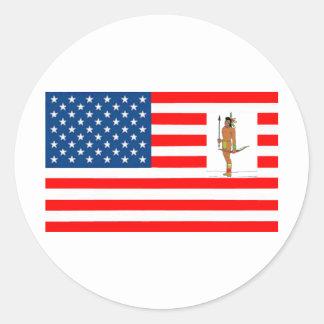 STICKER ROND DRAPEAU USA CHASSEUR INDIEN 1.PNG