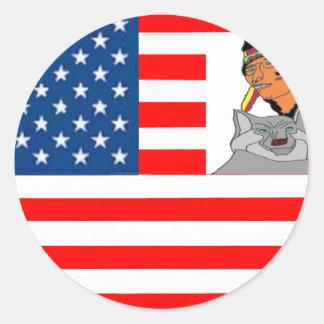 STICKER ROND DRAPEAU USA INDIEN LOUP 1.PNG