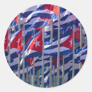 Sticker Rond Drapeaux cubains, La Havane, Cuba