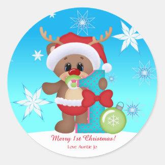 Sticker Rond Drôle mignon de ęr renne de Noël du bébé