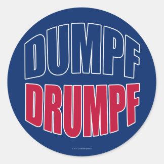 Sticker Rond DUMPF DRUMPF (bleu et rouge sur le bleu)