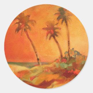 Sticker Rond Dunes de plage de coucher du soleil de palmier