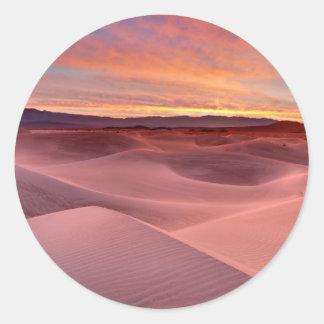 Sticker Rond Dunes de sable roses, Death Valley, CA