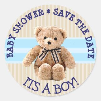 Sticker Rond Économies d'ours de nounours de baby shower