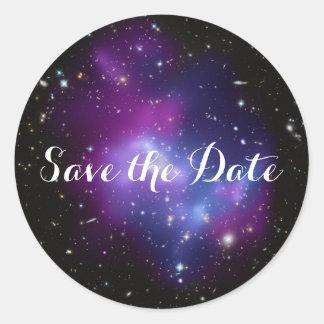 Sticker Rond Économies pourpres de groupe de galaxie la date