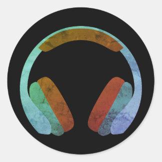 Sticker Rond Écouteurs Emoji