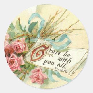Sticker Rond Écriture sainte rose vintage de roses