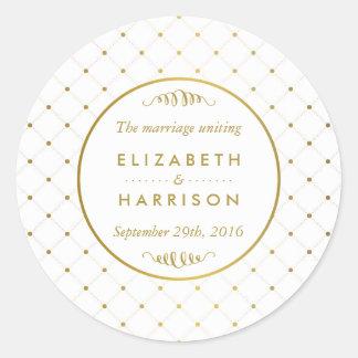 Sticker Rond Effet moderne de blanc et de feuille d'or épousant