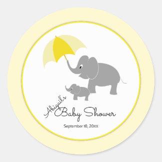 Sticker Rond Éléphant et bébé, baby shower de parapluie