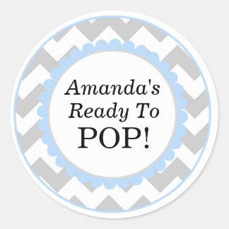 Sticker Rond Elle est prête à sauter, baby shower d'impression