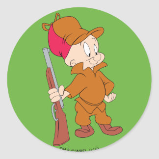 Sticker Rond ELMER FUDD™   avec l'arme à feu
