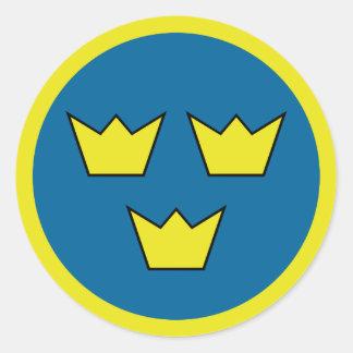 Sticker Rond Emblème de trois Suédois de couronnes