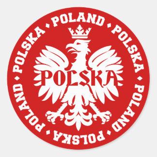 Sticker Rond Emblème polonais de Polska Eagle
