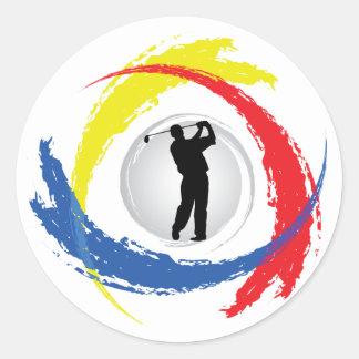 Sticker Rond Emblème tricolore de golf