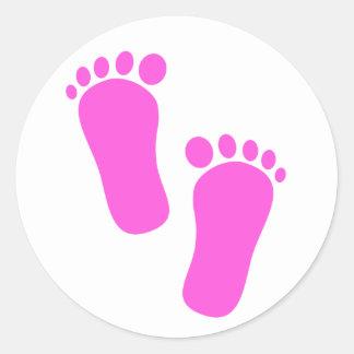 Sticker Rond Empreintes de pas roses de bébé